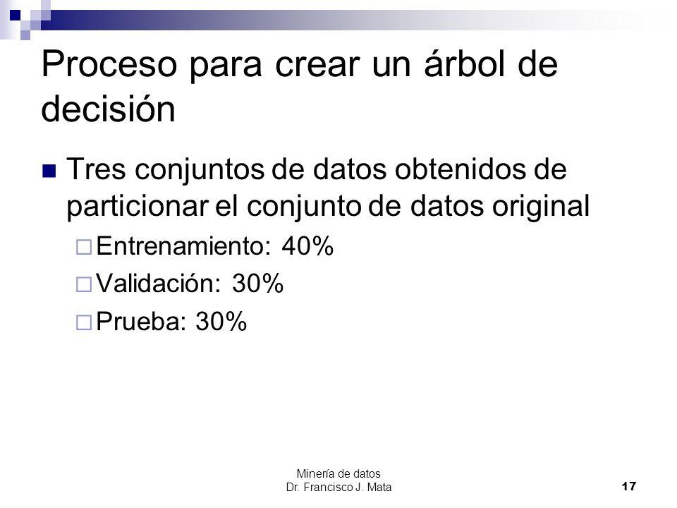 Minería de datos Dr. Francisco J. Mata 17 Proceso para crear un árbol de decisión Tres conjuntos de datos obtenidos de particionar el conjunto de dato