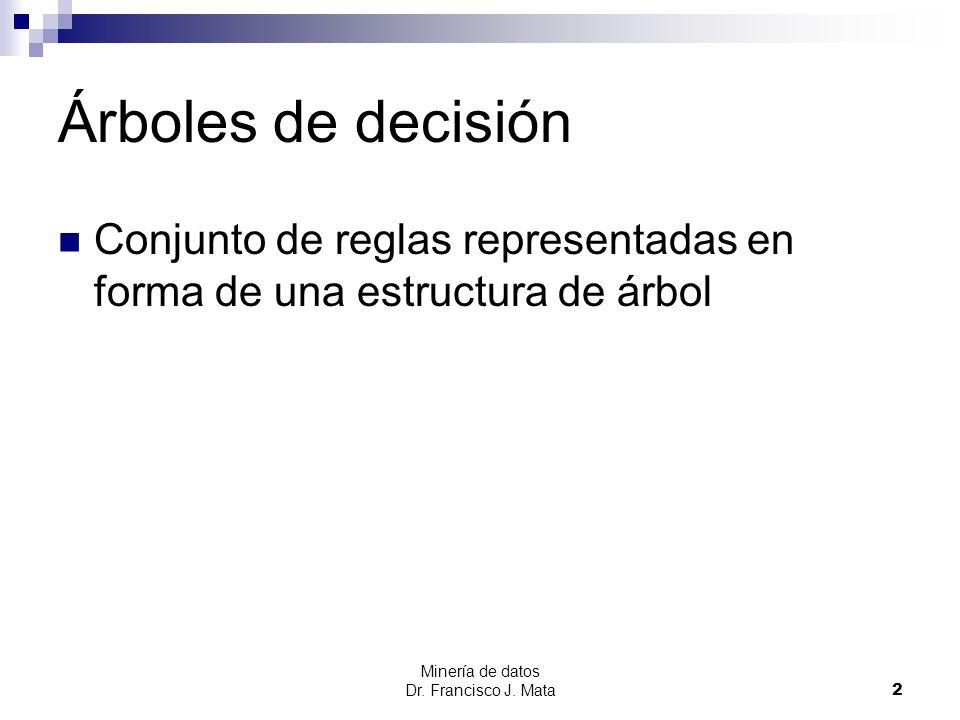 Minería de datos Dr. Francisco J. Mata 2 Árboles de decisión Conjunto de reglas representadas en forma de una estructura de árbol
