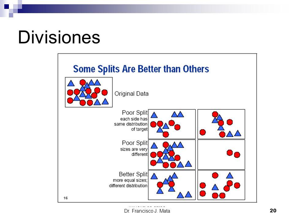 Minería de datos Dr. Francisco J. Mata 20 Divisiones
