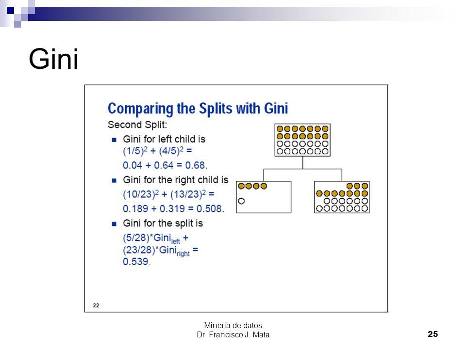 Minería de datos Dr. Francisco J. Mata 25 Gini