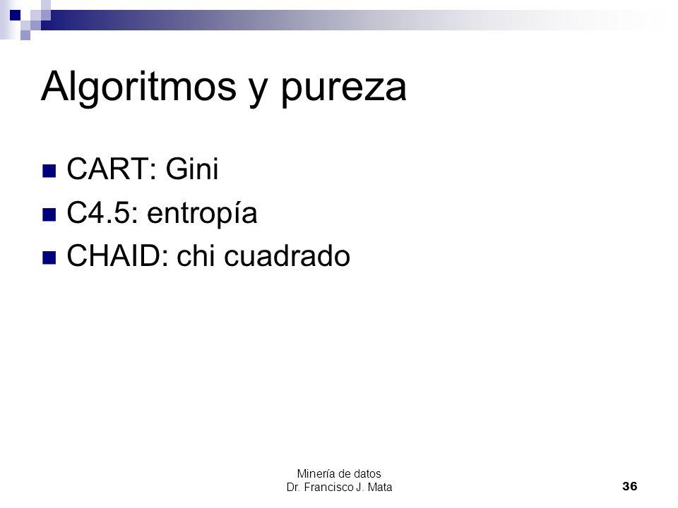 Minería de datos Dr. Francisco J. Mata 36 Algoritmos y pureza CART: Gini C4.5: entropía CHAID: chi cuadrado