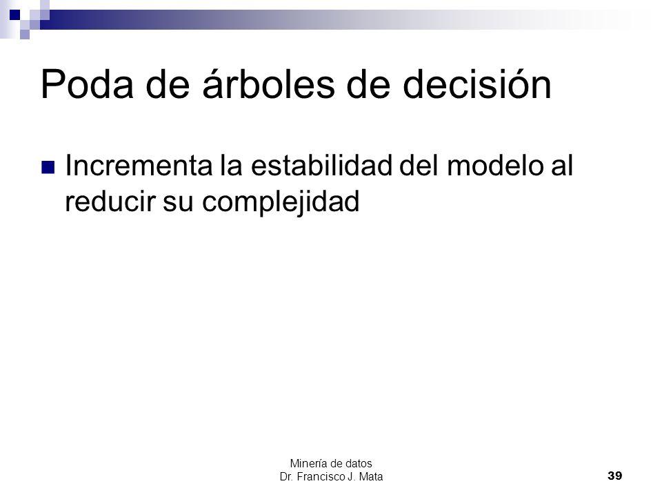 Minería de datos Dr. Francisco J. Mata 39 Poda de árboles de decisión Incrementa la estabilidad del modelo al reducir su complejidad