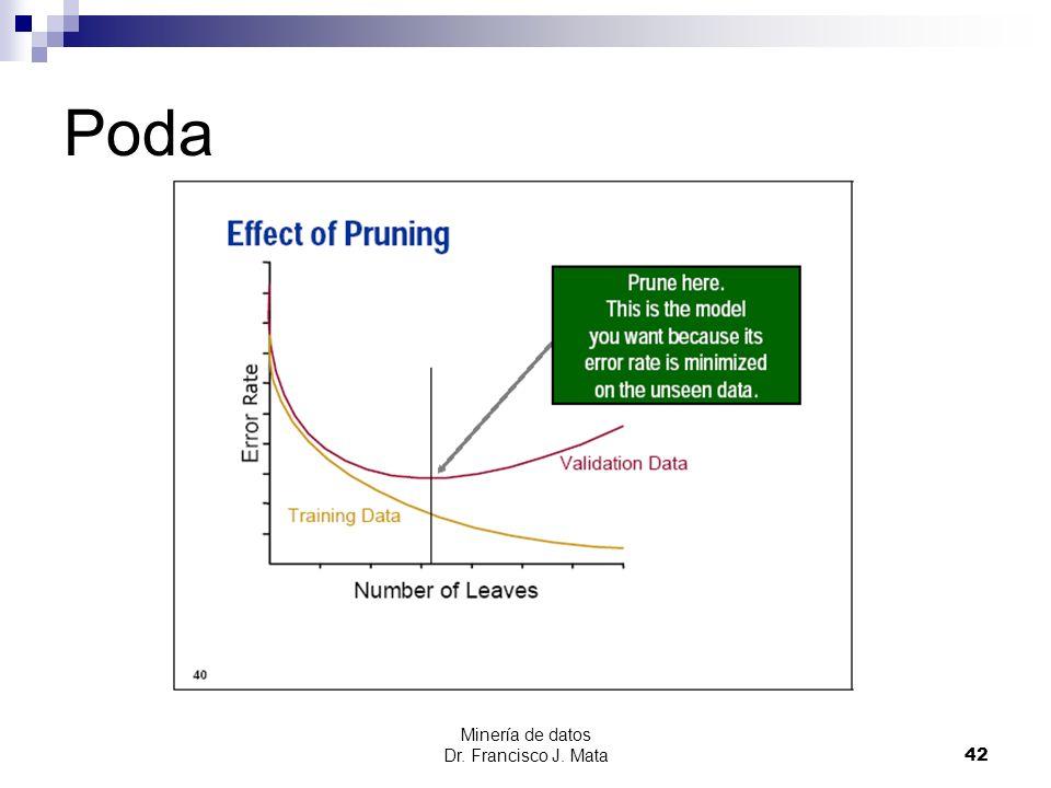 Minería de datos Dr. Francisco J. Mata 42 Poda