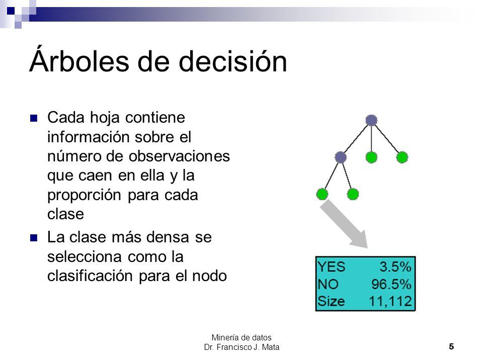 Minería de datos Dr. Francisco J. Mata 5 Árboles de decisión Cada hoja contiene información sobre el número de observaciones que caen en ella y la pro