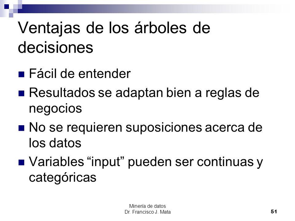 Minería de datos Dr. Francisco J. Mata 51 Ventajas de los árboles de decisiones Fácil de entender Resultados se adaptan bien a reglas de negocios No s