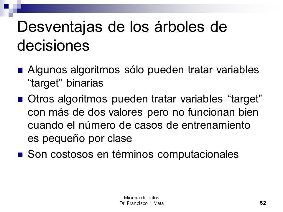 Minería de datos Dr. Francisco J. Mata 52 Desventajas de los árboles de decisiones Algunos algoritmos sólo pueden tratar variables target binarias Otr