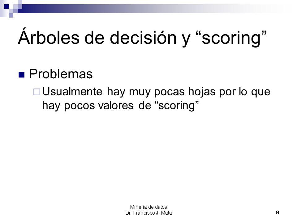 Minería de datos Dr. Francisco J. Mata 9 Árboles de decisión y scoring Problemas Usualmente hay muy pocas hojas por lo que hay pocos valores de scorin