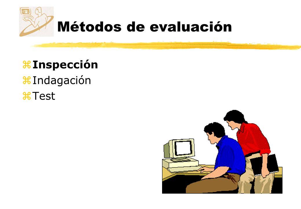 Métodos de evaluación Inspección z Unos evaluadores inspeccionan o examinan aspectos relacionados con la usabilidad de la interfaz.