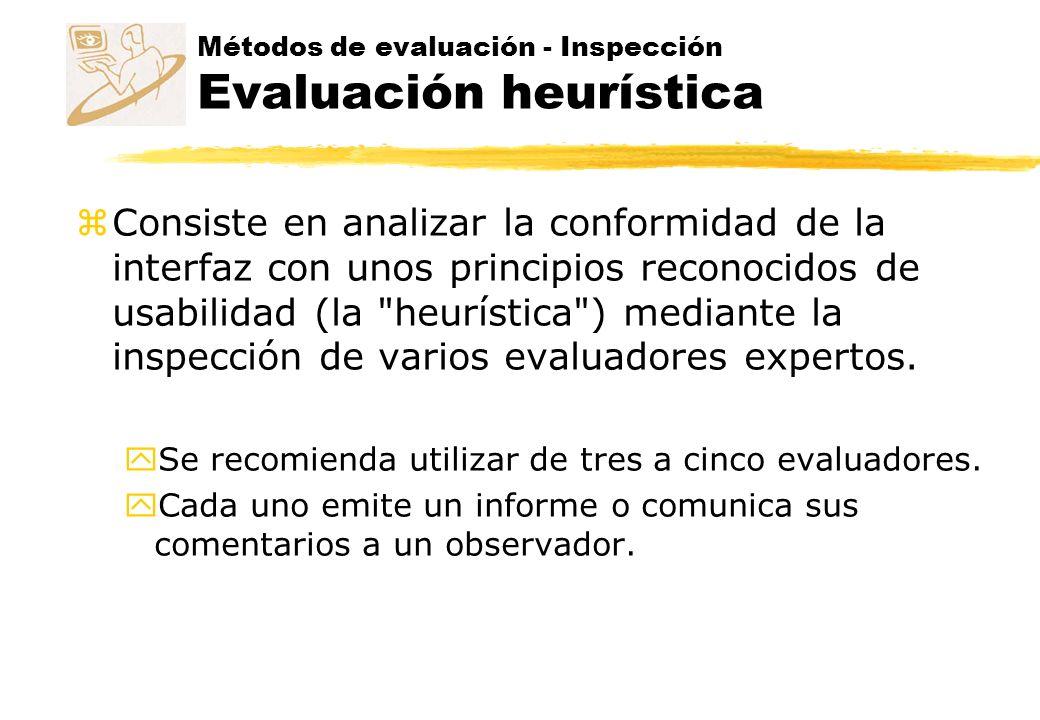 Inspección – Evaluación heurística Principios heurísticos zReglas empíricas generales zGuían a diseñadores durante el proceso de diseño.