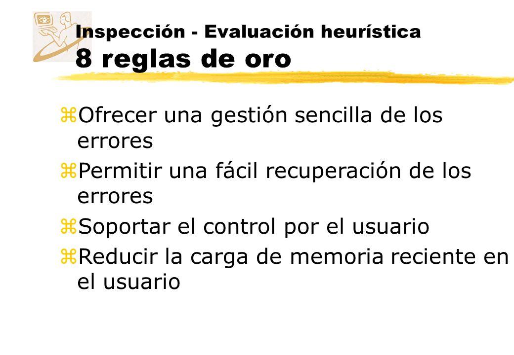 Inspección - Evaluación heurística 10 reglas heurísticas z Molich y Nielsen (1990) z El estado del sistema ha de estar siempre visible.