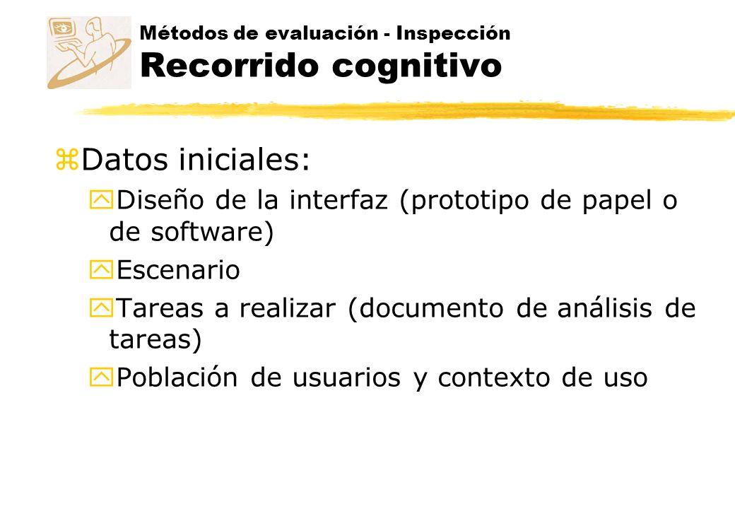Métodos de evaluación - Inspección Recorrido cognitivo z Ejecución: y Se seleccciona una tarea.