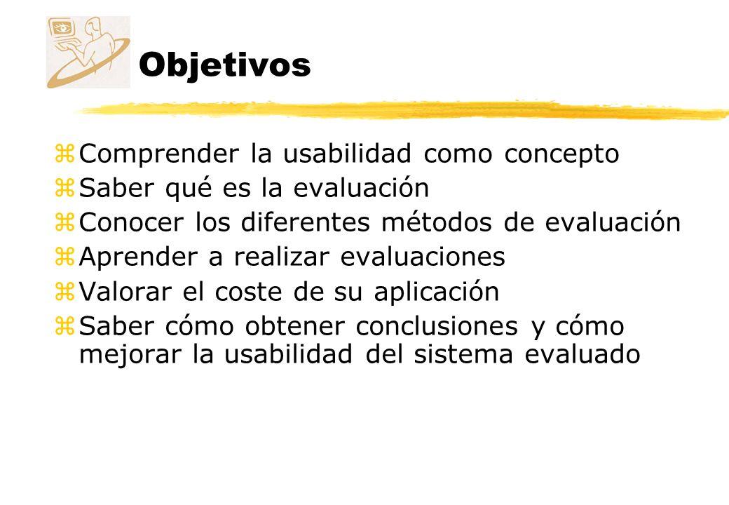 Contenido zEl diseño centrado en el usuario zLa usabilidad zLa evaluación zMétodos de evaluación zCoste de la usabilidad zLaboratorio de usabilidad