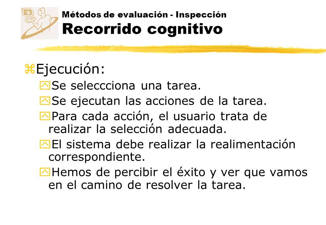 Métodos de evaluación - Inspección Inspección de estándares z Este método se realiza por medio de un experto en un estándar de la interfaz.