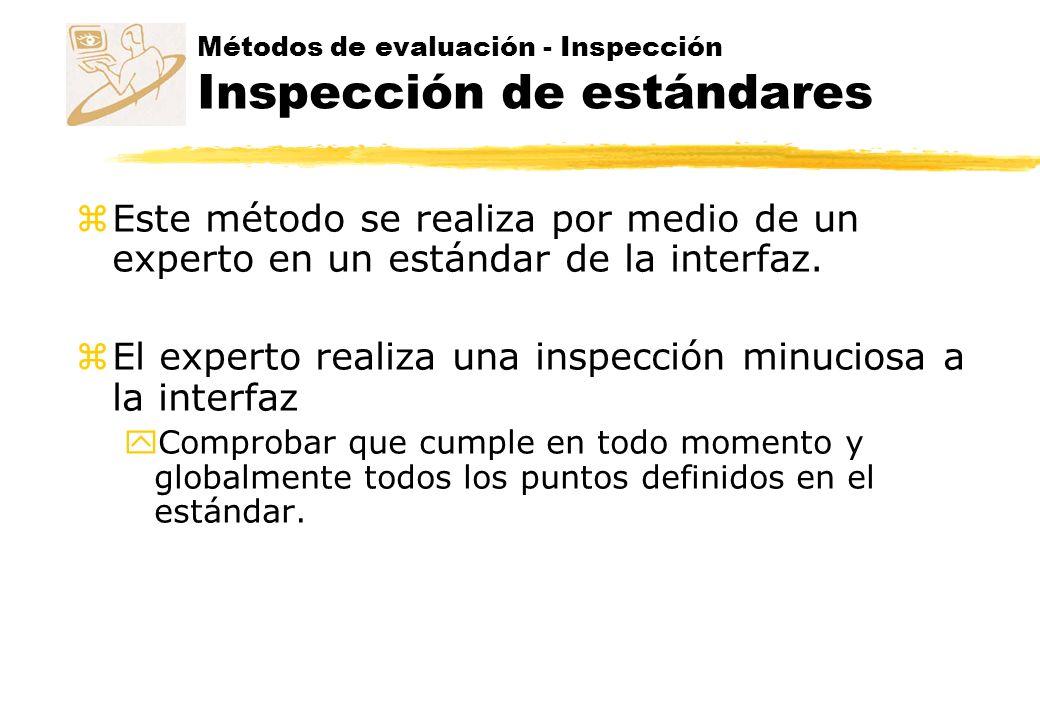 Métodos de evaluación zInspección zIndagación zTest