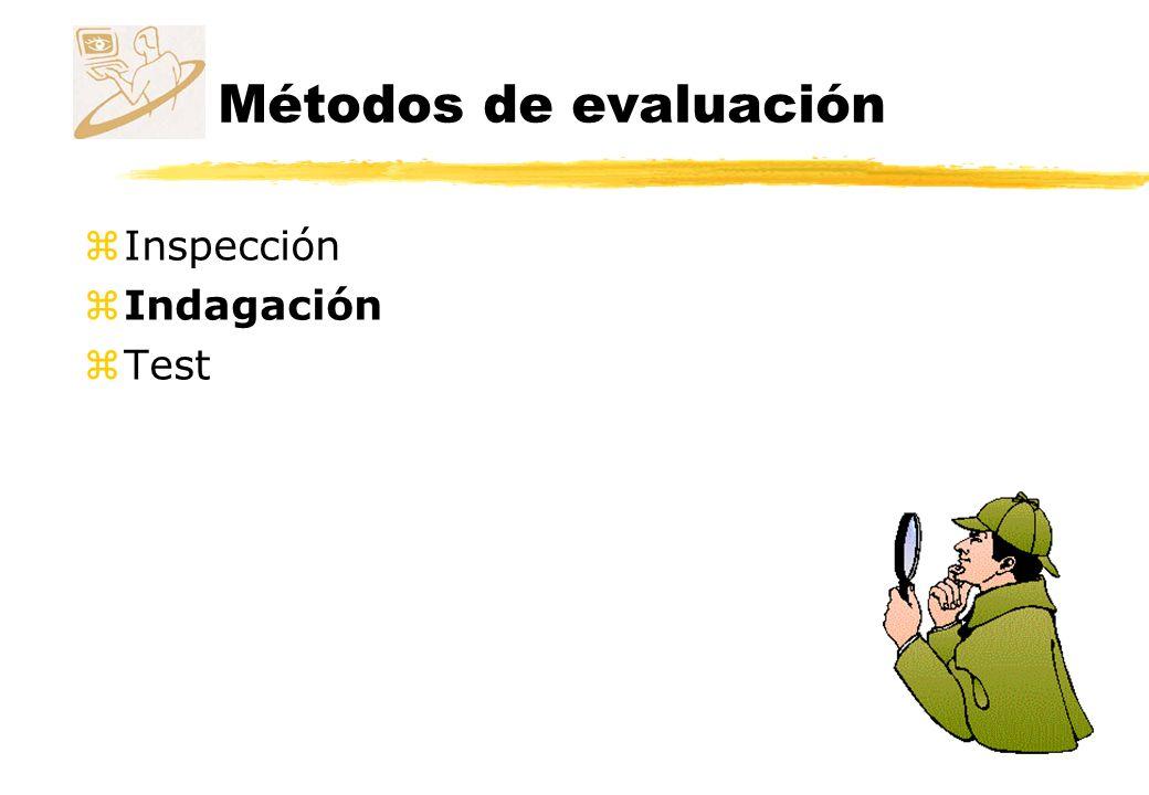 Métodos de evaluación Indagación z La información acerca de los gustos y necesidades del usuario y la identificación de requisitos y Indispensables en una etapa temprana del desarrollo