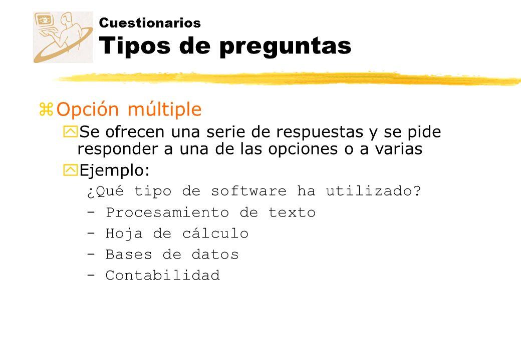 Cuestionarios Tipos de preguntas zOrdenada ySe presenta una serie de opciones que hay que ordenar.