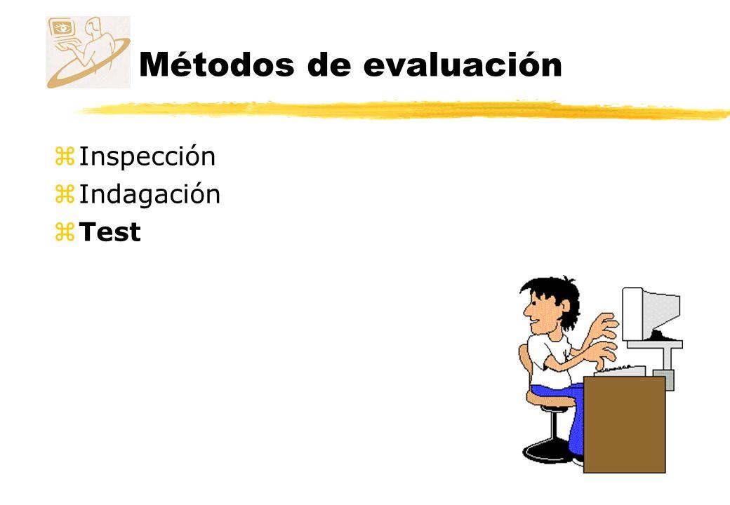 Métodos de evaluación Test zUsuarios representativos realizan sus tareas usando el sistema (o un prototipo).
