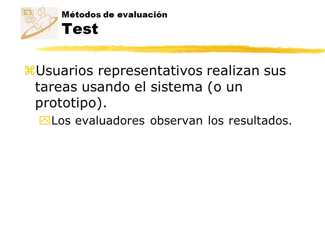 Métodos de evaluación Test zTipos de métodos: yMedida de prestaciones yTest remoto yPensando en voz alta yInteracción constructiva yTest retrospectivo yMétodo del conductor