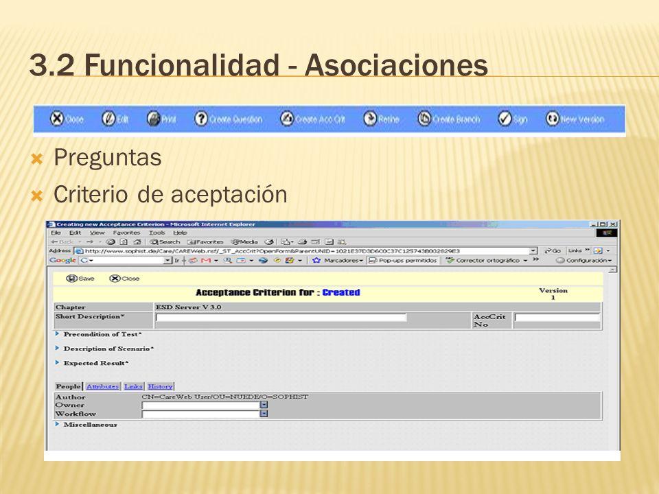 3.2 Funcionalidad - Asociaciones Preguntas Criterio de aceptación