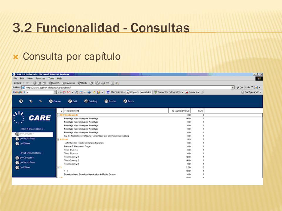 3.2 Funcionalidad - Consultas Consulta por capítulo