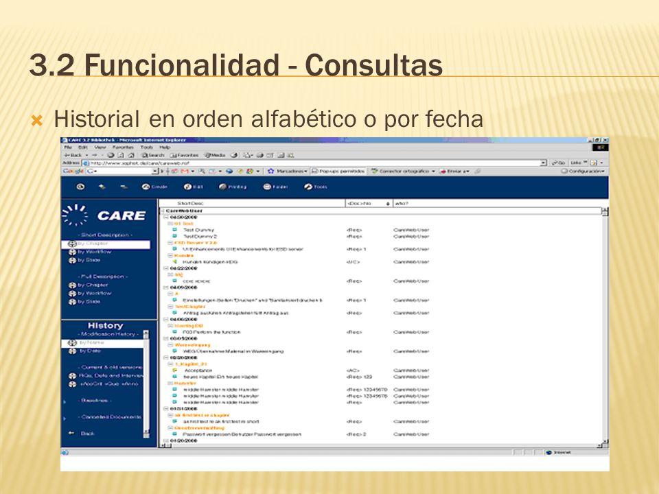 3.2 Funcionalidad - Consultas Historial en orden alfabético o por fecha