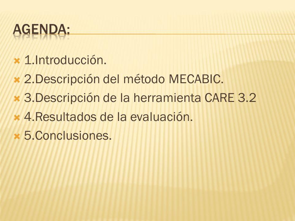 1.Introducción. 2.Descripción del método MECABIC. 3.Descripción de la herramienta CARE 3.2 4.Resultados de la evaluación. 5.Conclusiones.