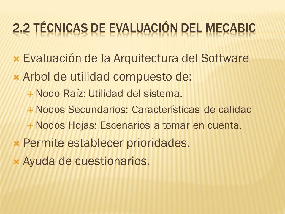 Evaluación de la Arquitectura del Software Arbol de utilidad compuesto de: Nodo Raíz: Utilidad del sistema. Nodos Secundarios: Características de cali