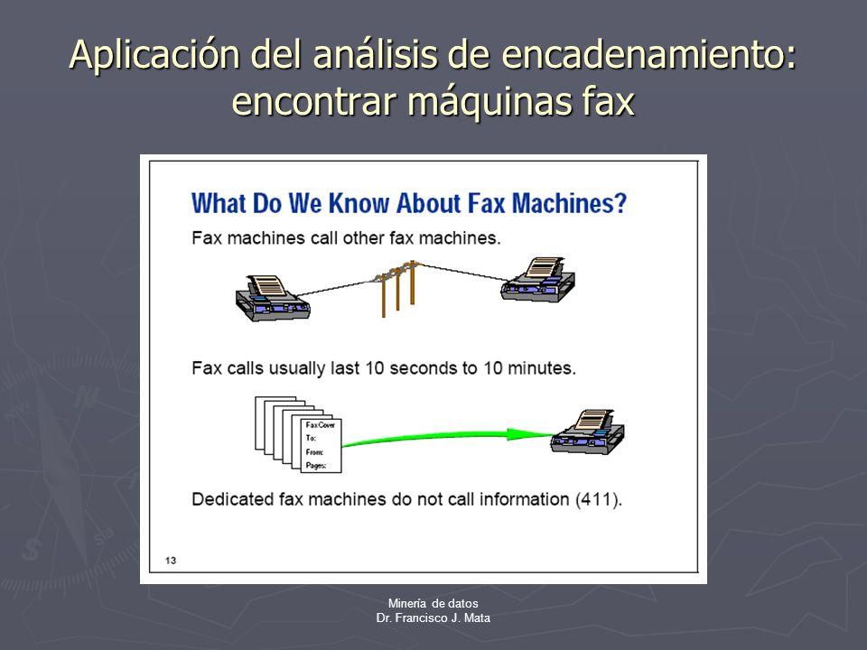 Minería de datos Dr. Francisco J. Mata Aplicación del análisis de encadenamiento: encontrar máquinas fax