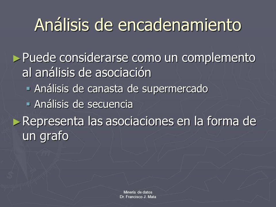 Minería de datos Dr. Francisco J. Mata Análisis de encadenamiento Puede considerarse como un complemento al análisis de asociación Puede considerarse