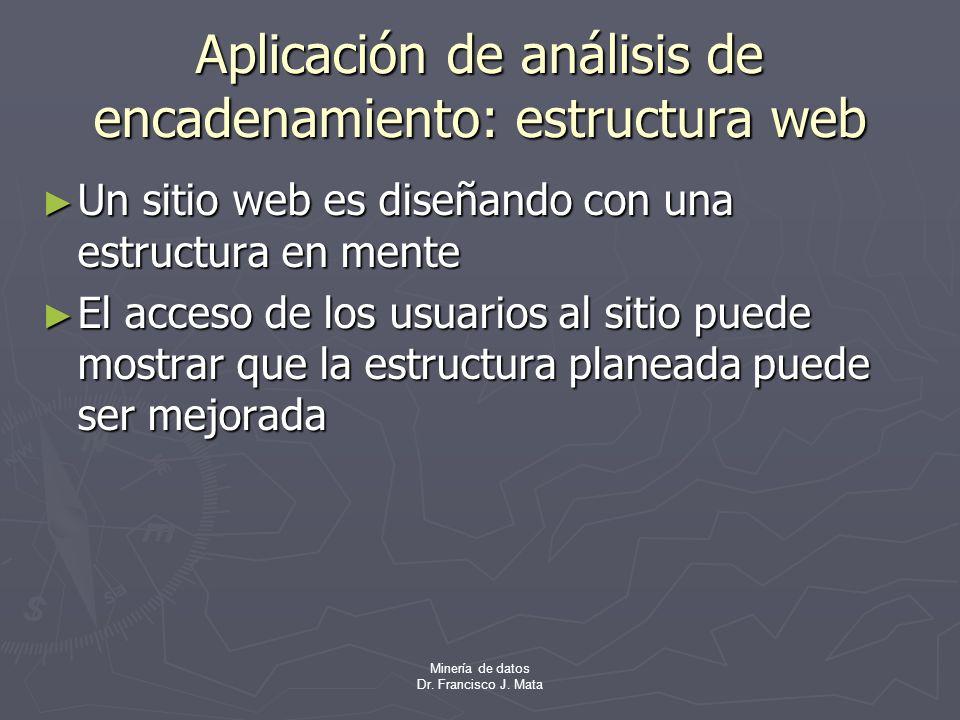 Minería de datos Dr. Francisco J. Mata Aplicación de análisis de encadenamiento: estructura web Un sitio web es diseñando con una estructura en mente