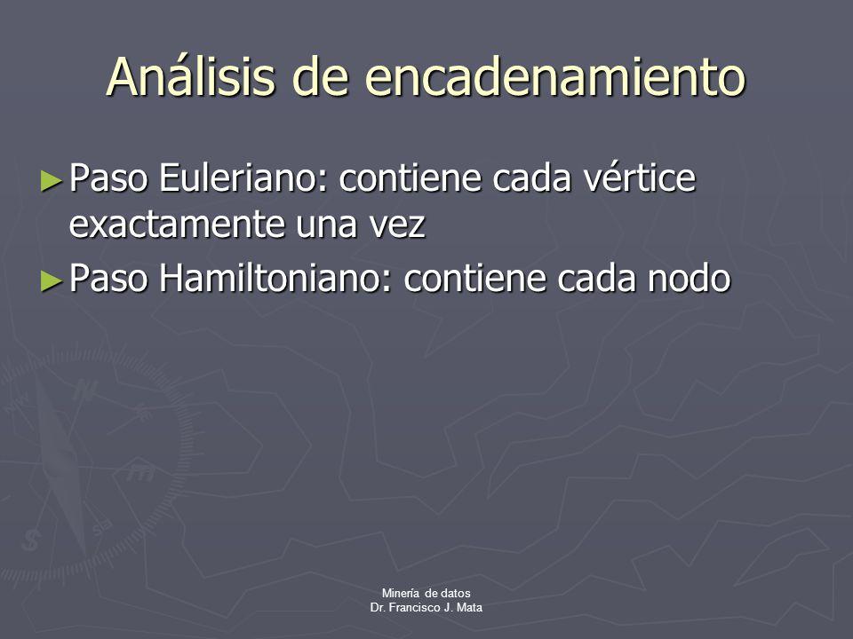 Minería de datos Dr. Francisco J. Mata Análisis de encadenamiento Paso Euleriano: contiene cada vértice exactamente una vez Paso Euleriano: contiene c