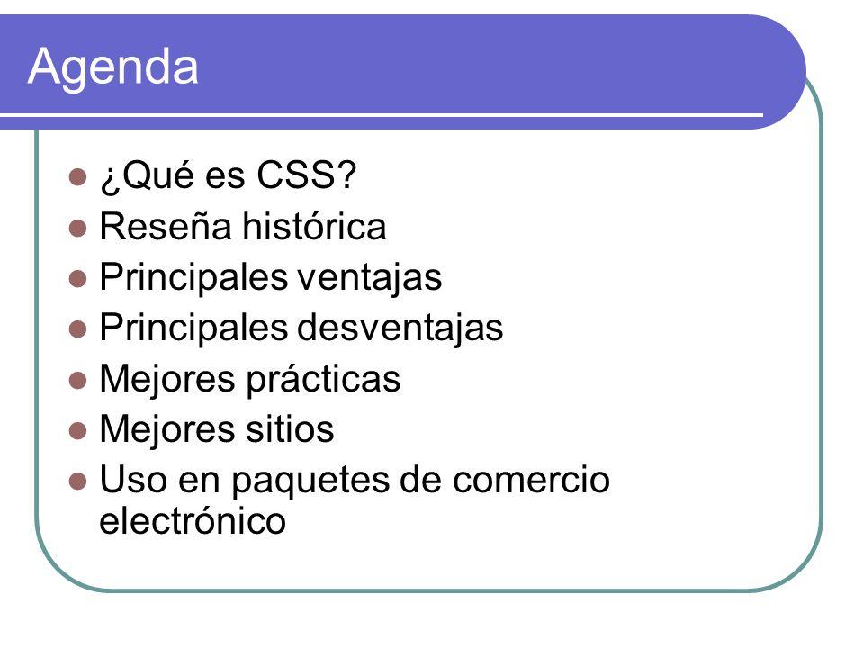 Agenda ¿Qué es CSS? Reseña histórica Principales ventajas Principales desventajas Mejores prácticas Mejores sitios Uso en paquetes de comercio electró