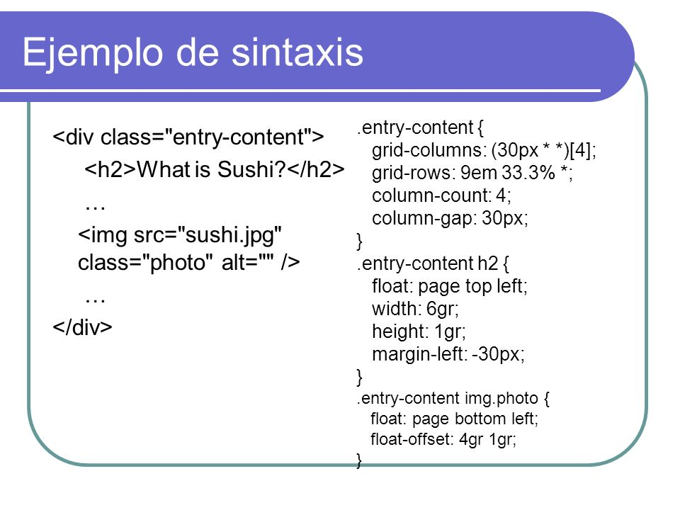 Ejemplo de sintaxis What is Sushi? … ….entry-content { grid-columns: (30px * *)[4]; grid-rows: 9em 33.3% *; column-count: 4; column-gap: 30px; }.entry