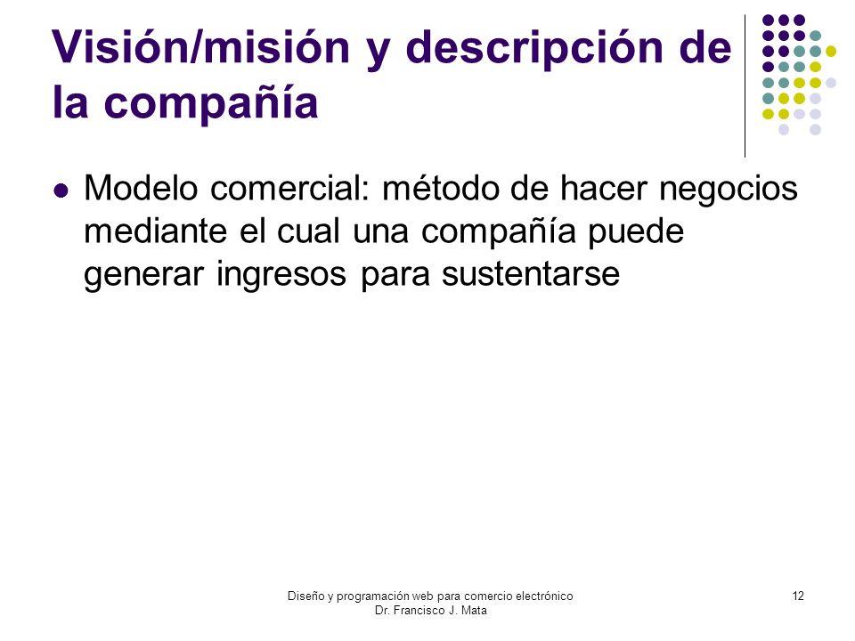 Diseño y programación web para comercio electrónico Dr. Francisco J. Mata 12 Visión/misión y descripción de la compañía Modelo comercial: método de ha
