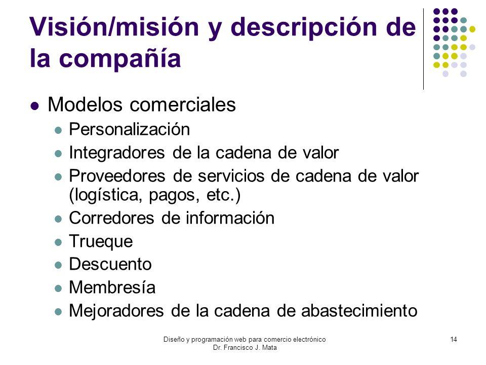 Diseño y programación web para comercio electrónico Dr. Francisco J. Mata 14 Visión/misión y descripción de la compañía Modelos comerciales Personaliz