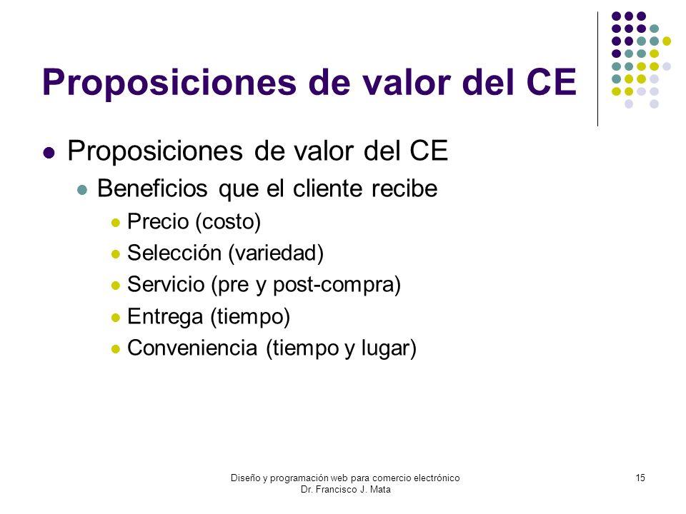 Diseño y programación web para comercio electrónico Dr. Francisco J. Mata 15 Proposiciones de valor del CE Beneficios que el cliente recibe Precio (co
