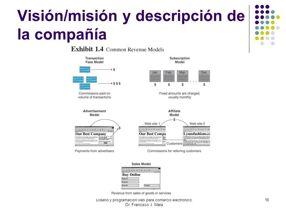Diseño y programación web para comercio electrónico Dr. Francisco J. Mata 16 Visión/misión y descripción de la compañía