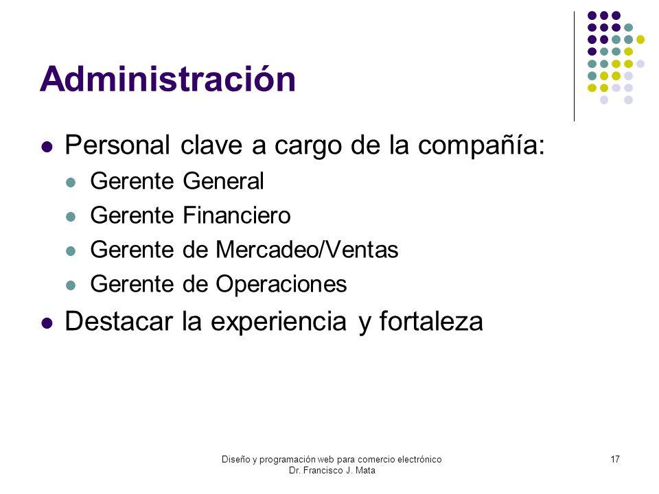 Diseño y programación web para comercio electrónico Dr. Francisco J. Mata 17 Administración Personal clave a cargo de la compañía: Gerente General Ger