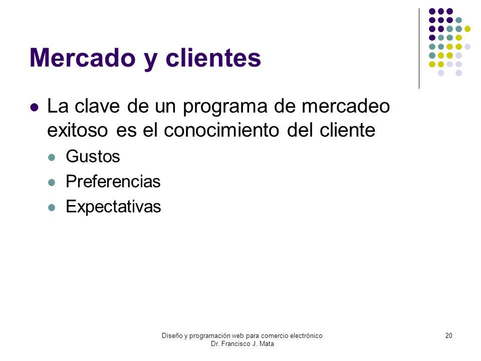 Diseño y programación web para comercio electrónico Dr. Francisco J. Mata 20 Mercado y clientes La clave de un programa de mercadeo exitoso es el cono