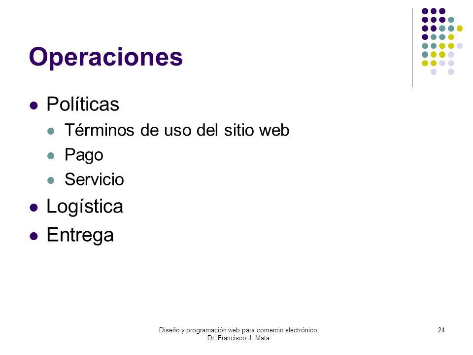 Diseño y programación web para comercio electrónico Dr. Francisco J. Mata 24 Operaciones Políticas Términos de uso del sitio web Pago Servicio Logísti
