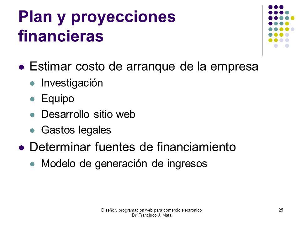 Diseño y programación web para comercio electrónico Dr. Francisco J. Mata 25 Plan y proyecciones financieras Estimar costo de arranque de la empresa I