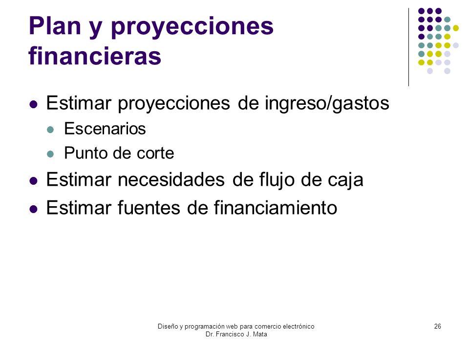 Diseño y programación web para comercio electrónico Dr. Francisco J. Mata 26 Plan y proyecciones financieras Estimar proyecciones de ingreso/gastos Es
