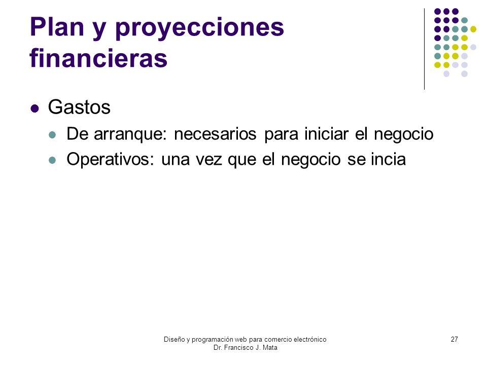 Diseño y programación web para comercio electrónico Dr. Francisco J. Mata 27 Plan y proyecciones financieras Gastos De arranque: necesarios para inici