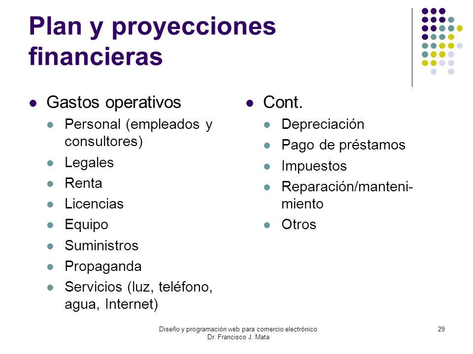 Diseño y programación web para comercio electrónico Dr. Francisco J. Mata 29 Plan y proyecciones financieras Gastos operativos Personal (empleados y c