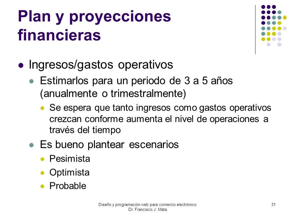 Diseño y programación web para comercio electrónico Dr. Francisco J. Mata 31 Plan y proyecciones financieras Ingresos/gastos operativos Estimarlos par
