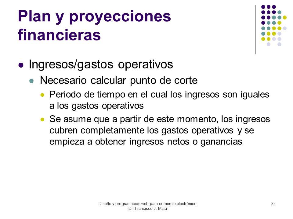 Diseño y programación web para comercio electrónico Dr. Francisco J. Mata 32 Plan y proyecciones financieras Ingresos/gastos operativos Necesario calc
