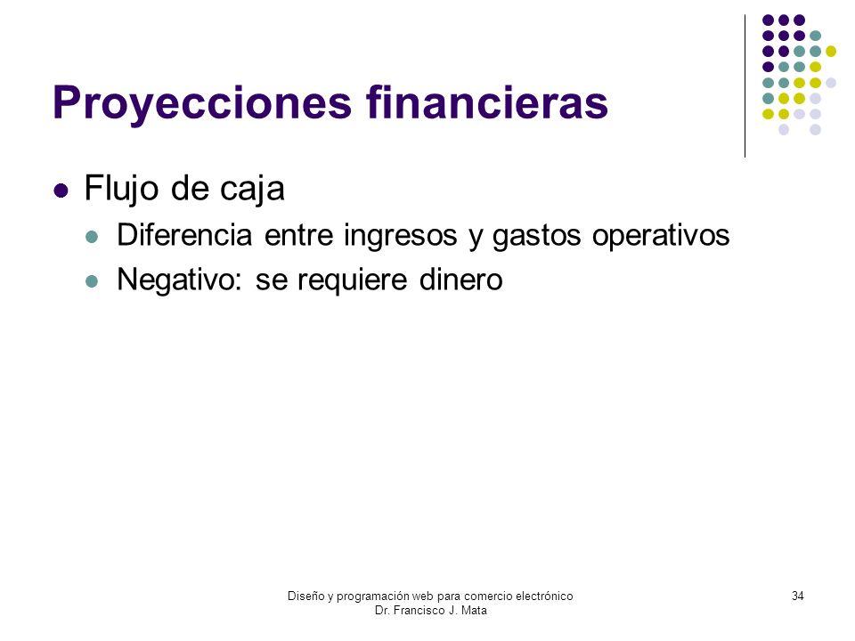 Diseño y programación web para comercio electrónico Dr. Francisco J. Mata 34 Proyecciones financieras Flujo de caja Diferencia entre ingresos y gastos