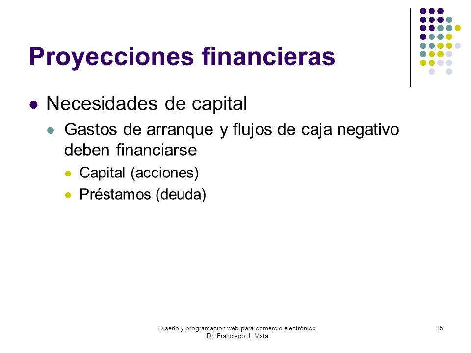 Diseño y programación web para comercio electrónico Dr. Francisco J. Mata 35 Proyecciones financieras Necesidades de capital Gastos de arranque y fluj