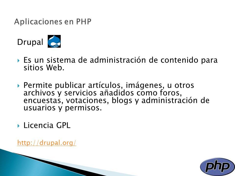 Drupal Es un sistema de administración de contenido para sitios Web. Permite publicar artículos, imágenes, u otros archivos y servicios añadidos como