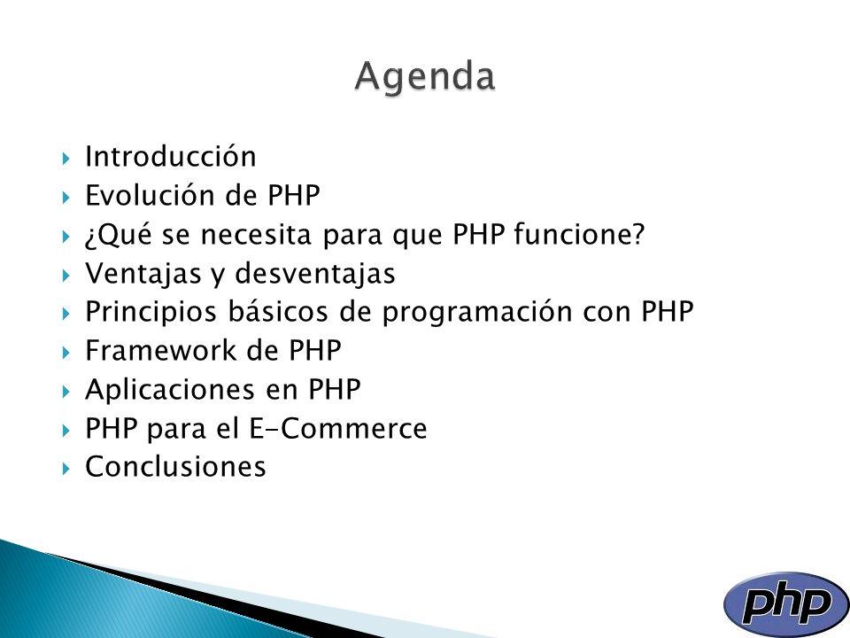 Introducción Evolución de PHP ¿Qué se necesita para que PHP funcione? Ventajas y desventajas Principios básicos de programación con PHP Framework de P